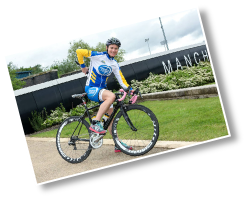 PR shot of Paralympic gold medallist, Dame Sarah Storey, publicing road safety whilst cycling